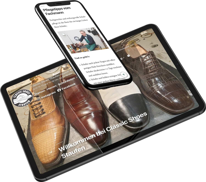 Classic Shoes Staufen, Einzelhandel aus Staufen, WordPress-Homepage